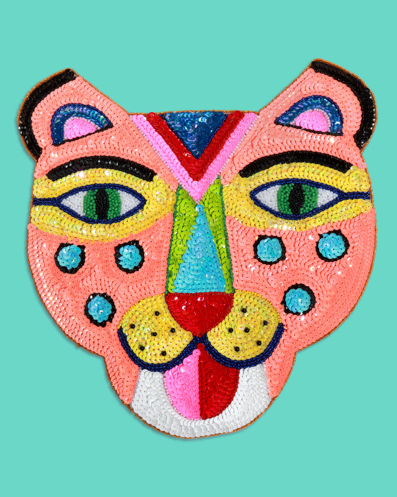 Large Smiling Tiger Sequin Patch, Orange