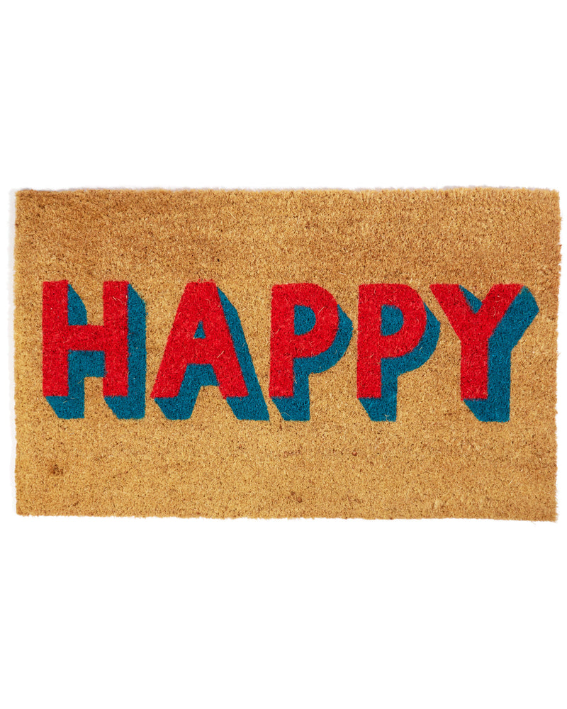 Happy Block Letters Door Mat