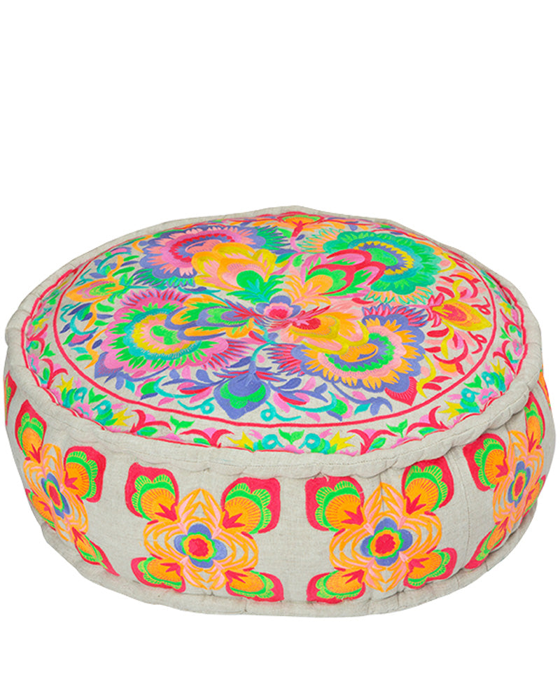 Carnival Embroidered Pouffe