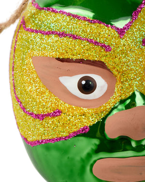 Load image into Gallery viewer, Cody Foster Mexican Wrestler Head, Green & Yellow