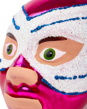 Load image into Gallery viewer, Cody Foster Mexican Wrestler Head, Pink & White