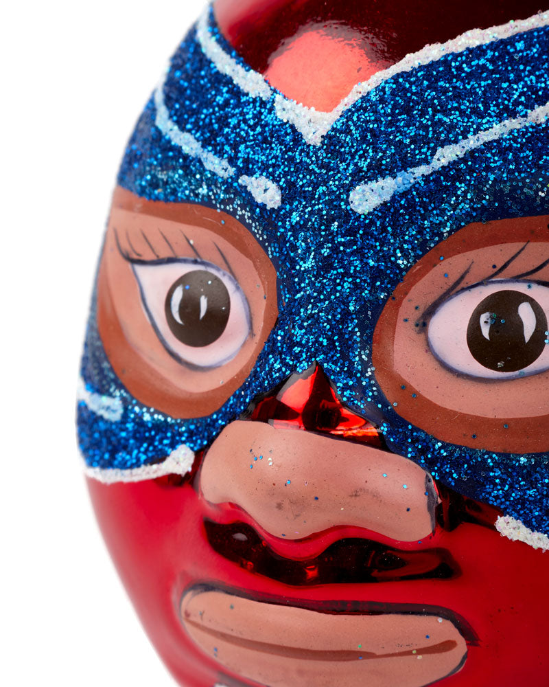 Mexican Wrestler Head, Red & Blue