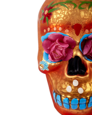 Cody Foster Day of the Dead Flower Skull, Orange