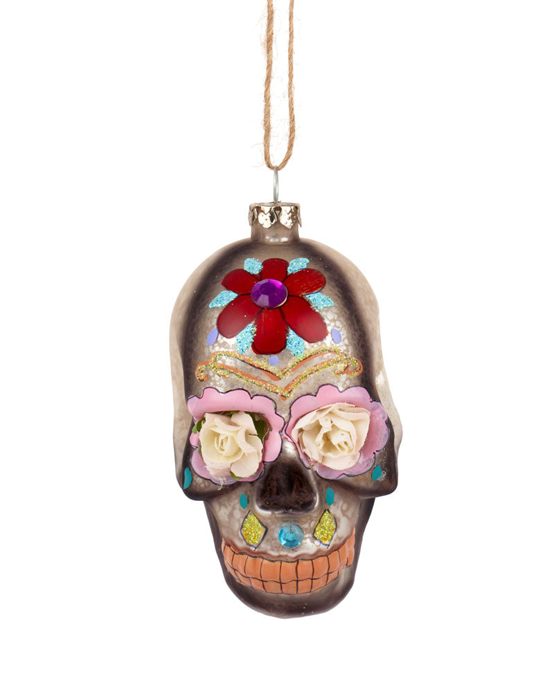 Cody Foster Day of the Dead Flower Skull, Silver