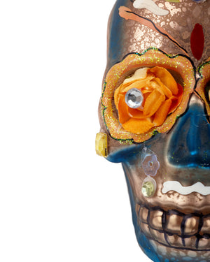 Cody Foster Day of the Dead Flower Skull, Blue & Gold