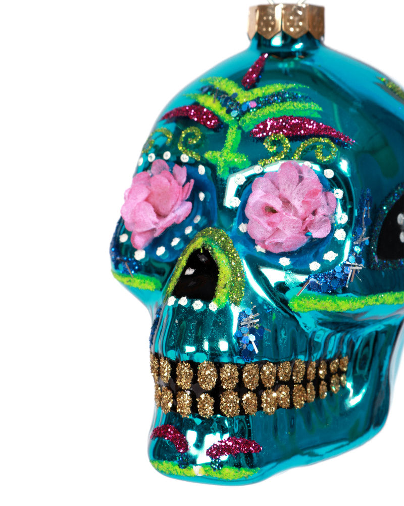 Sugar Skull Ornament, Blue