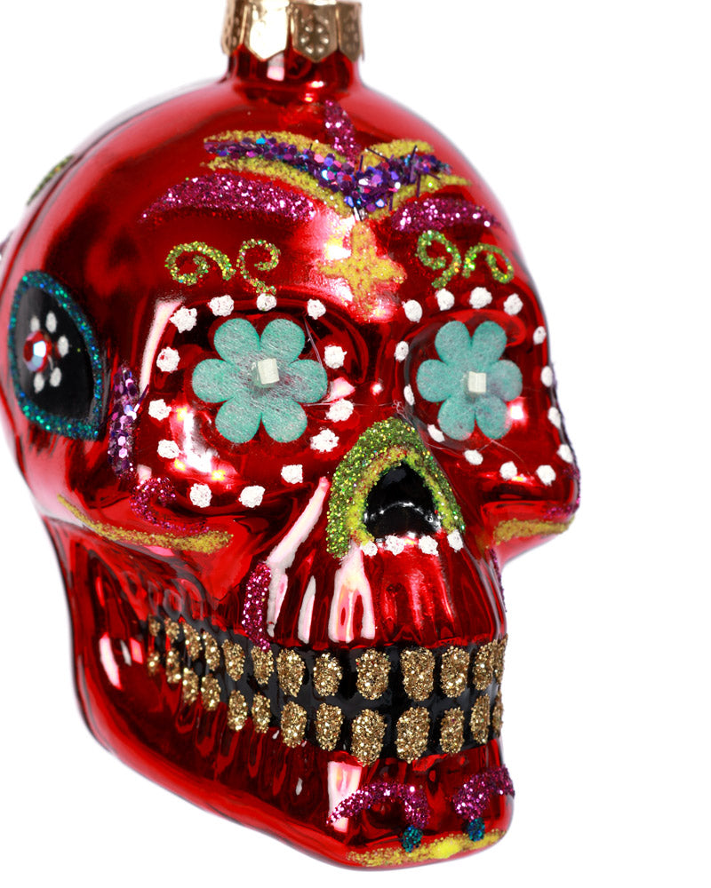 Load image into Gallery viewer, Sugar Skull Ornament, Red