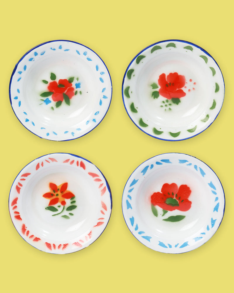 Small Enamel Plate, Set of 4