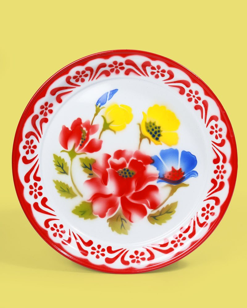35cm Floral Enamel Tray, Red