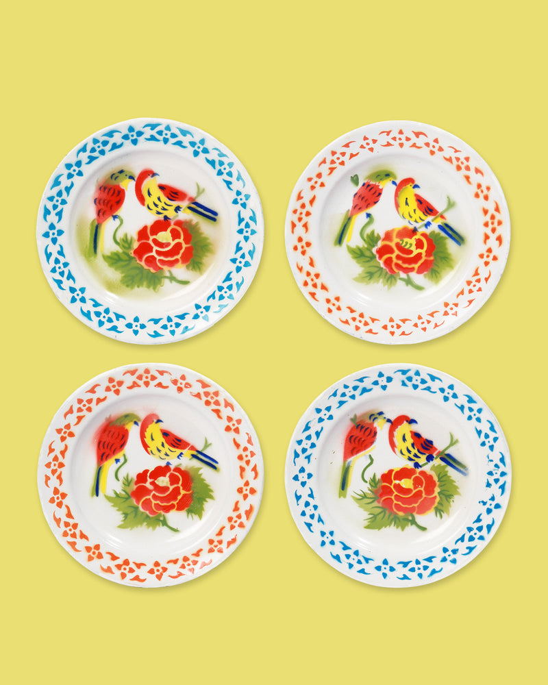 Enamel Bird Plate, Set of 4