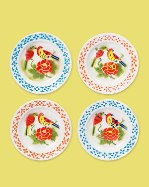 Load image into Gallery viewer, Enamel Bird Plate, Set of 4