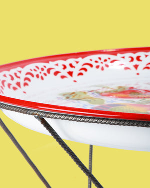 60cm Bird Enamel Tray with Frame, Red