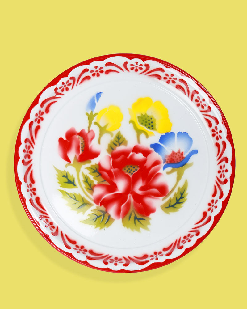 45cm Floral Enamel Tray with Frame, Red