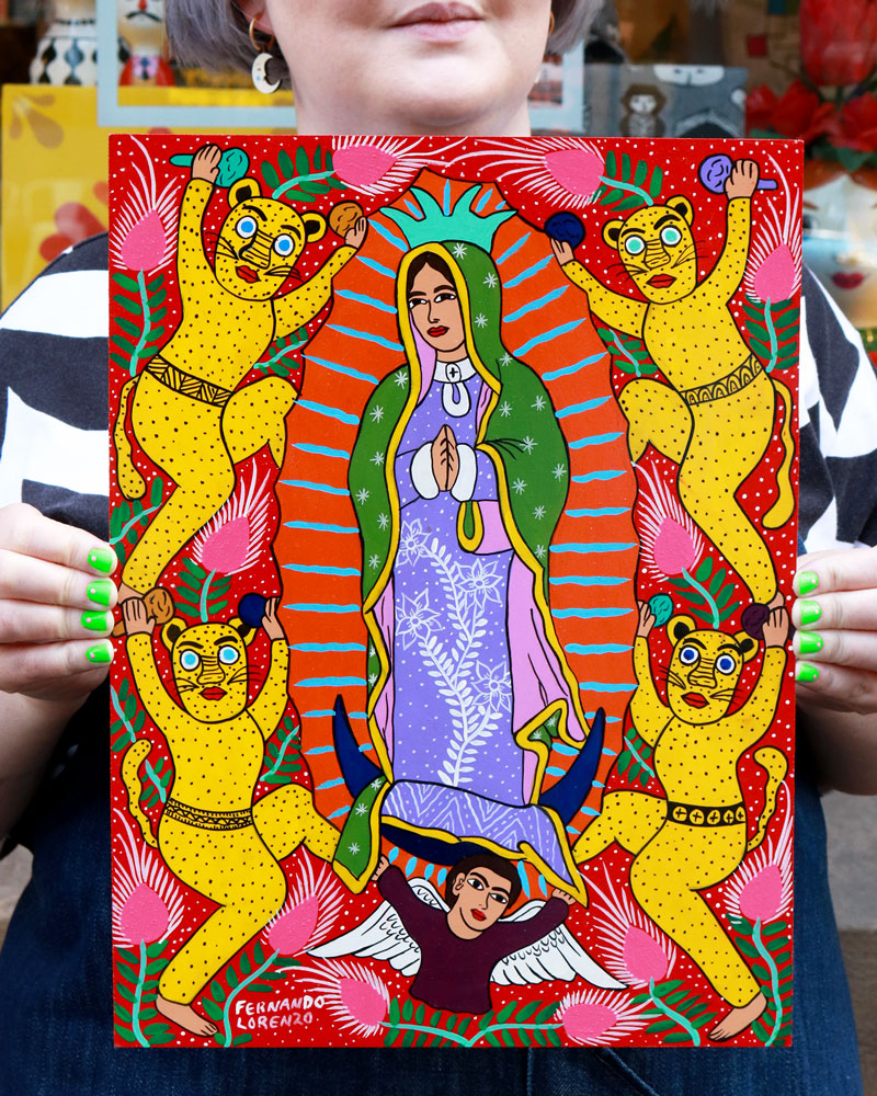 Load image into Gallery viewer, Familia Lorenzo Original Painting, Guadalupe & Dancing Jaguars