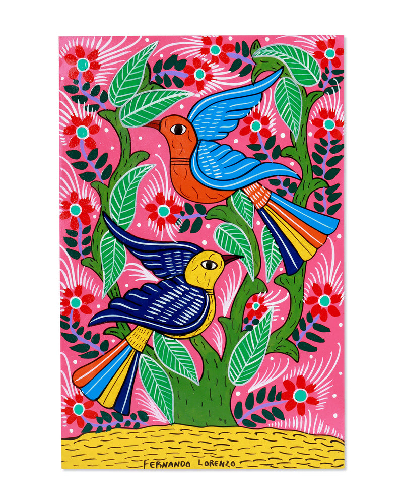 Load image into Gallery viewer, Familia Lorenzo Original Painting, Pink Birds