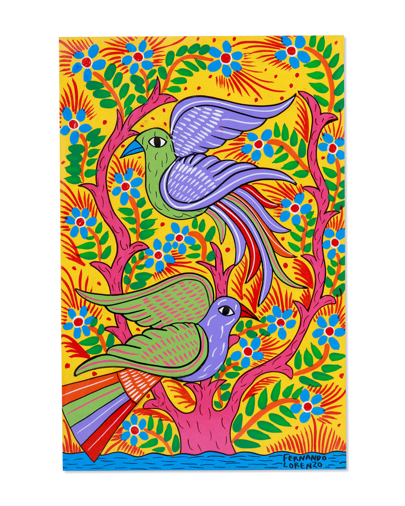 Familia Lorenzo Original Painting, Yellow Birds