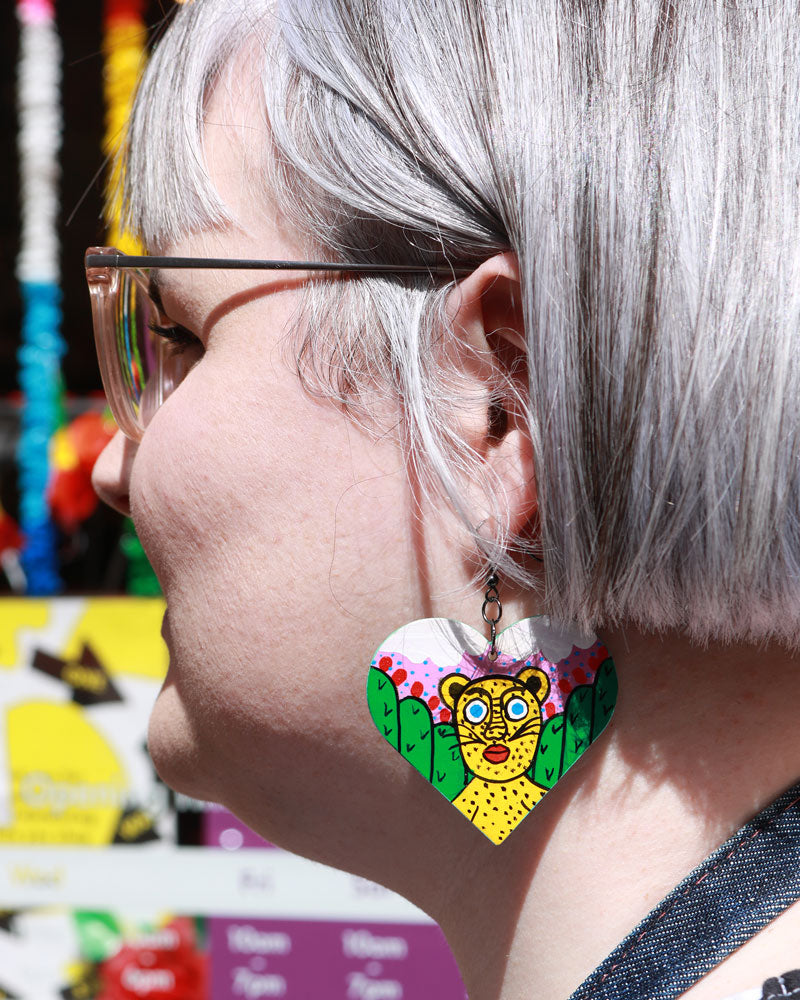 Load image into Gallery viewer, Familia Lorenzo Hand-Painted Earrings, Jaguar