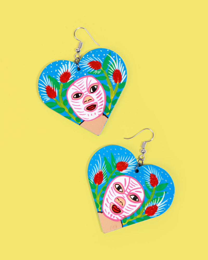 Familia Lorenzo Hand-Painted Earrings, Luchador