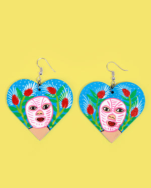 Load image into Gallery viewer, Familia Lorenzo Hand-Painted Earrings, Luchador