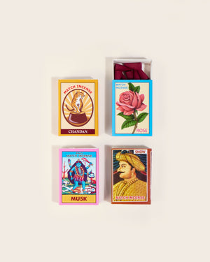 Incense Cones in Vintage Matchbox, Set of Four