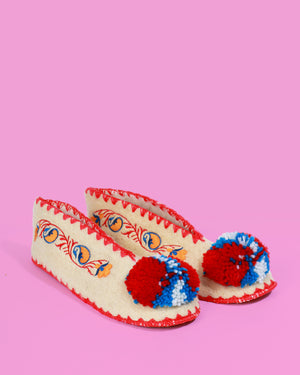 Load image into Gallery viewer, Greek Pom-Pom Slippers, Cream