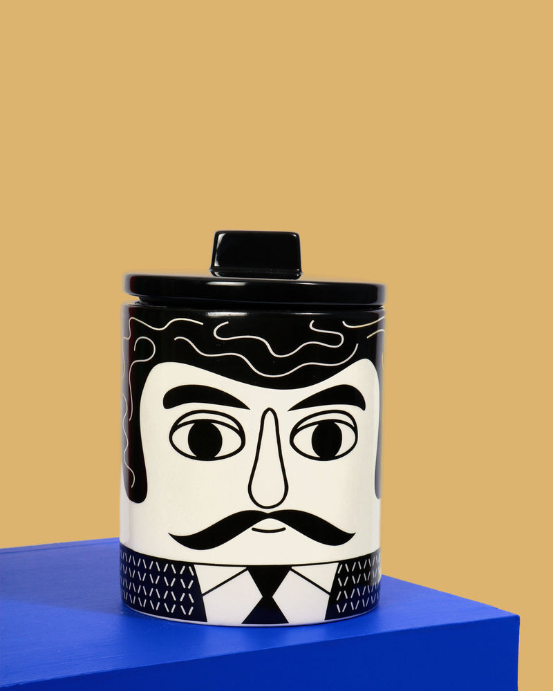 Carlos Storage Jar, Black & White