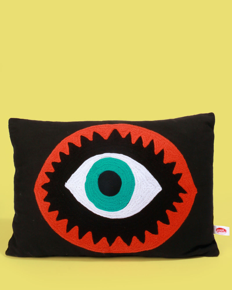 Kitsch Kitchen Black Embroidered Eye Pillow