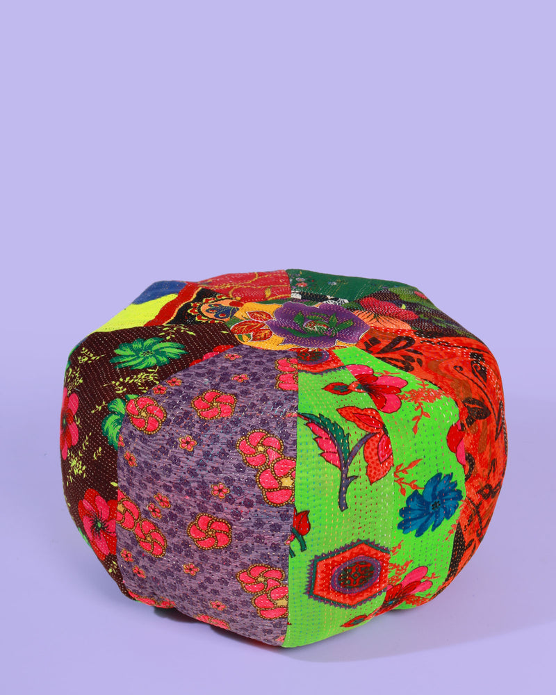 Load image into Gallery viewer, Hand-Stitched Vintage Patchwork Pouffe