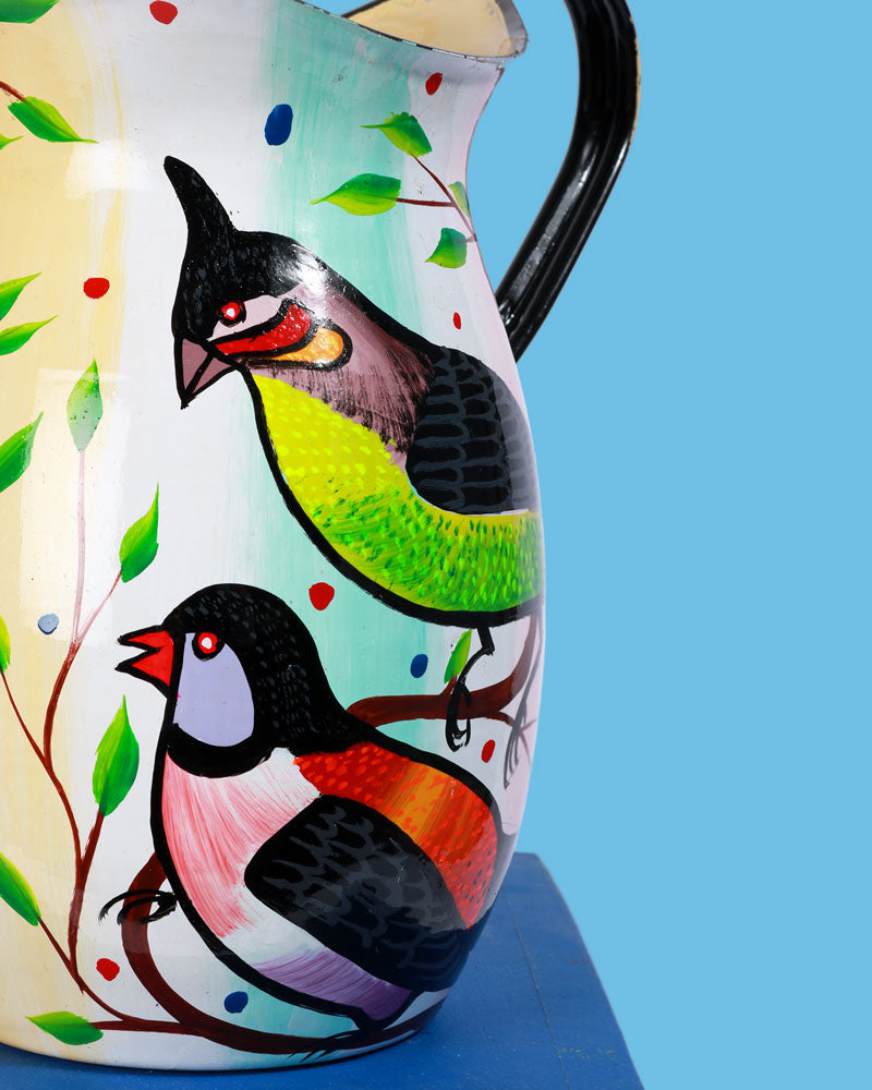 Load image into Gallery viewer, Hand-Painted Enamel Birds Jug