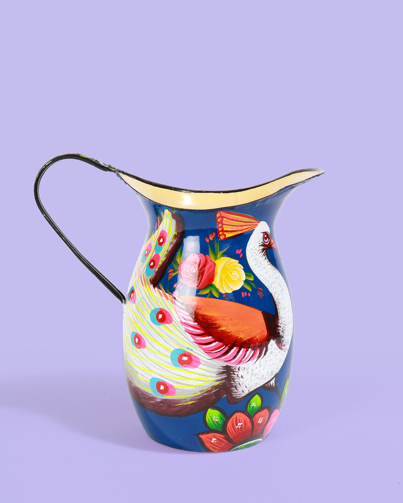 Hand-Painted Enamel Peacock Jug, Navy