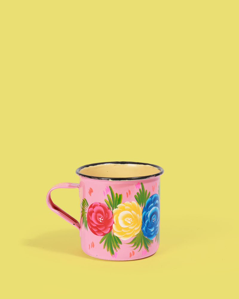 Hand-Painted Enamel Rose Mug, Pink