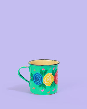 Load image into Gallery viewer, Hand-Painted Enamel Rose Mug, Turquoise