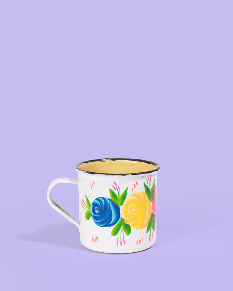 Hand-Painted Enamel Rose Mug, White