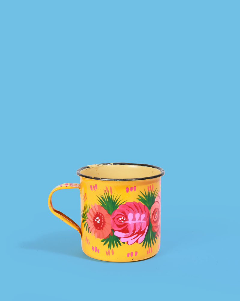 Hand-Painted Enamel Rose Mug, Yellow