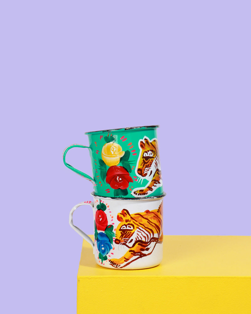 Load image into Gallery viewer, Hand-Painted Enamel Tiger Mug, White