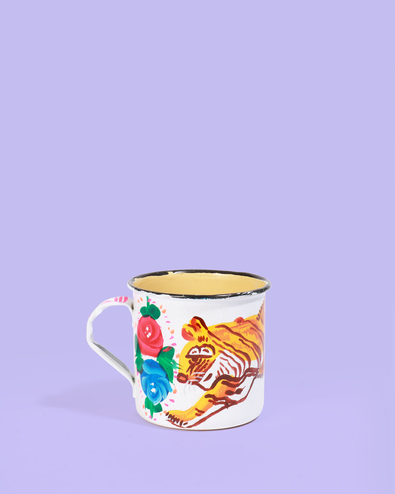 Hand-Painted Enamel Tiger Mug, White