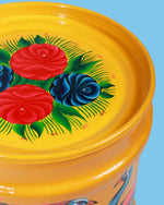 Hand-Painted Peacock Storage Drum, Yellow