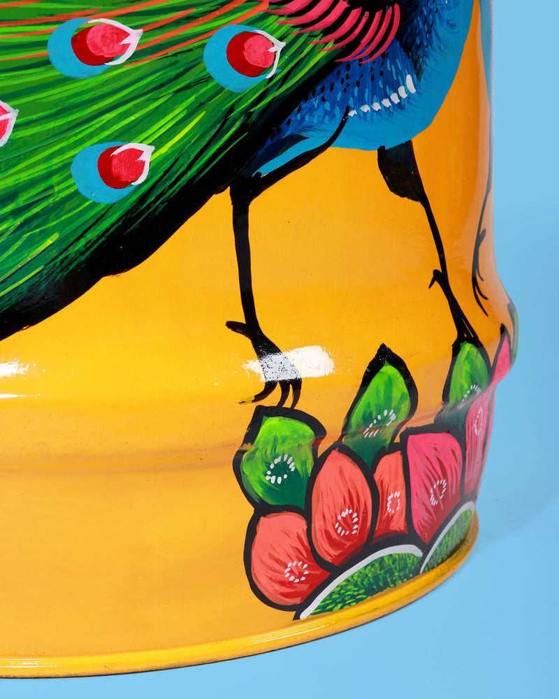 Load image into Gallery viewer, Hand-Painted Peacock Storage Drum, Yellow