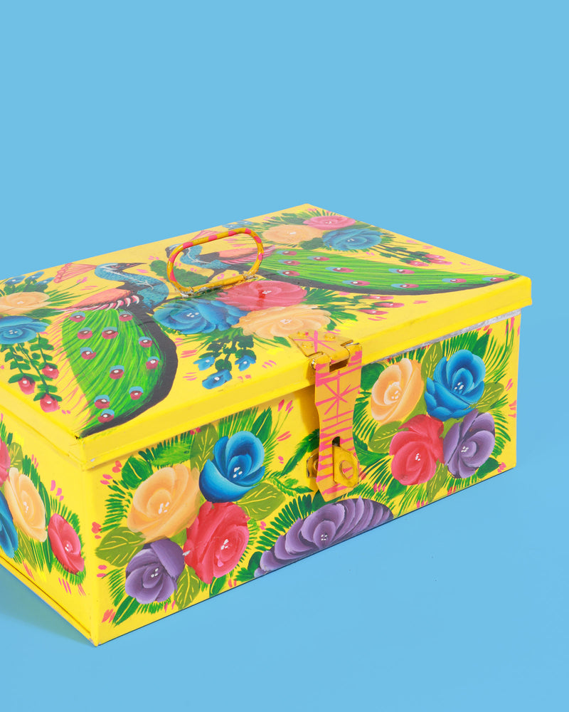Hand-Painted Peacock Storage Box, Yellow Medium