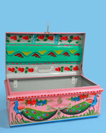 Hand-Painted Peacock Storage Trunk, Pink