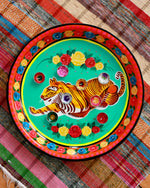 Hand-Painted Enamel Tiger Tray, Turquoise