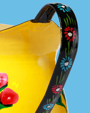 Hand-Painted Enamel Floral Jug, Yellow
