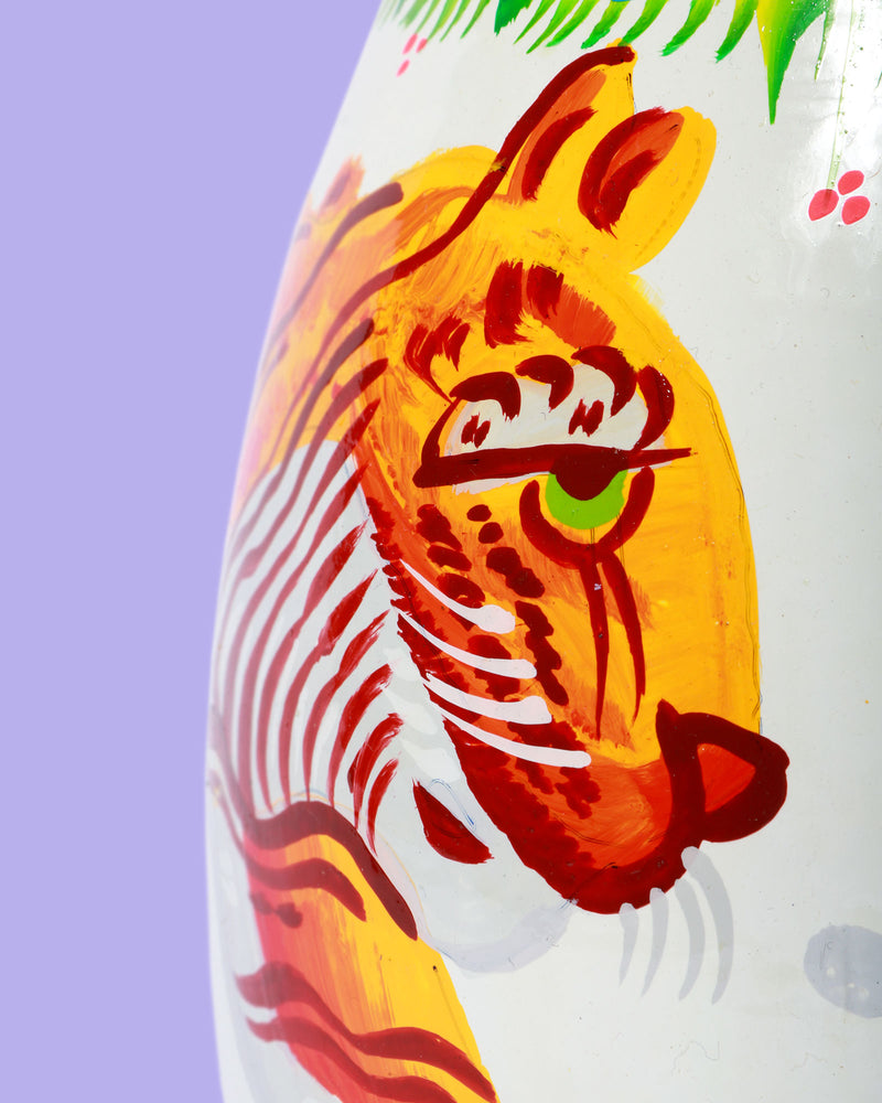 Hand-Painted Enamel Tiger Jug, White