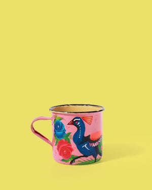 Load image into Gallery viewer, Hand-Painted Enamel Peacock Mug, Pink