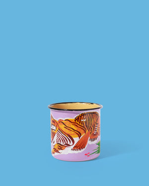 Load image into Gallery viewer, Hand-Painted Enamel Tiger Mug, Purple