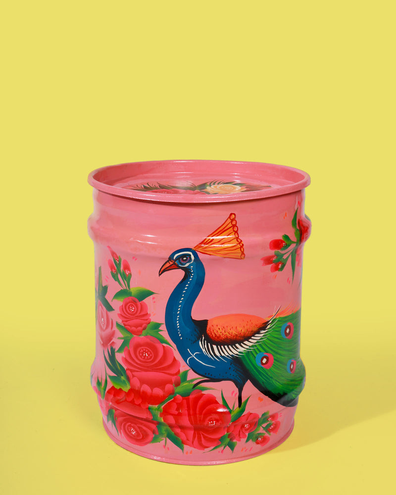 Hand-Painted Peacock Storage Drum, Pink