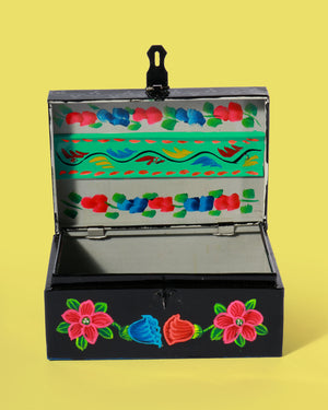 Hand-Painted Floral Storage Box, Black