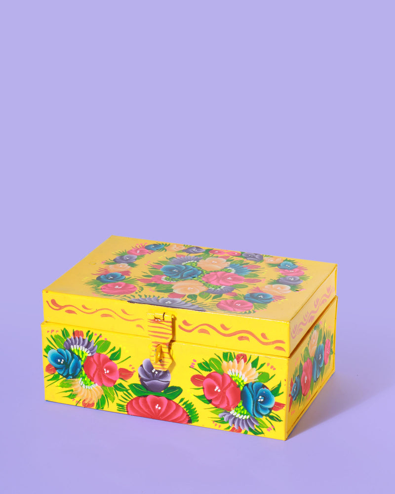 Hand-Painted Floral Storage Box, Yellow