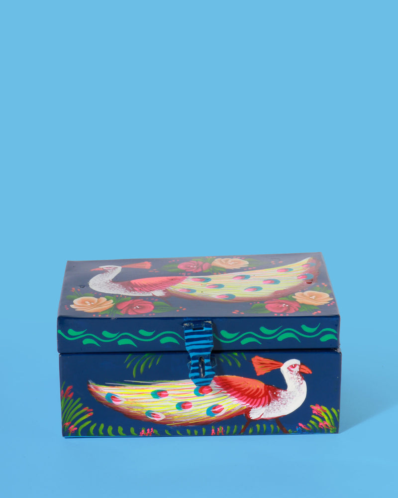 Hand-Painted Peacock Storage Box, Navy