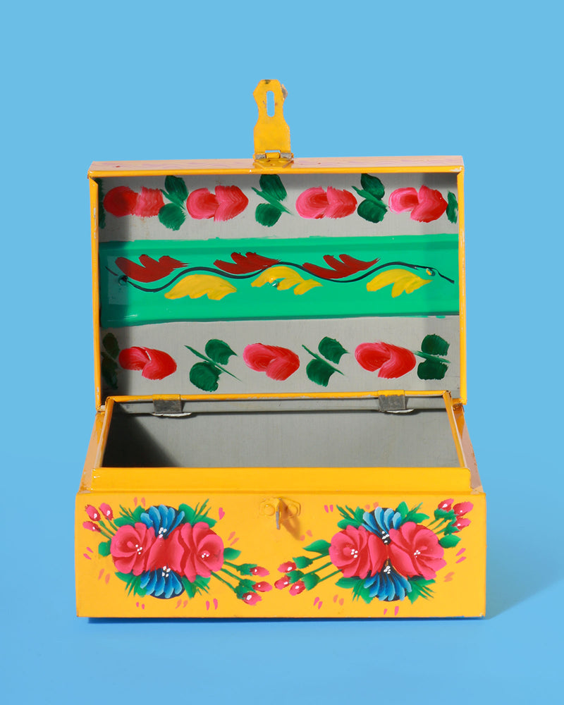 Hand-Painted Peacock Storage Box, Yellow